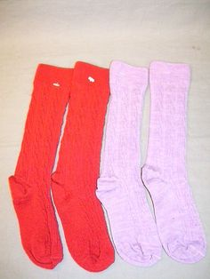 Smartwool Kids 2 Lot Cable Kneehigh Socks Medium Lilac Heather and Crimson 100 | eBay