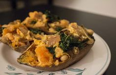 Healthy Twice-Baked Sweet Potatoes - sweet potatoes, onion, kale, Greek yogurt, oliveo il, white cannellini beans, garlic powder, salt & pepper