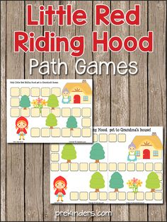 Super simple printable Little Red Riding Hood path game -- good for number recognition, counting, one to one correspondence -- could be modified to focus on certain French vocabulary during the Chaperon rouge unit Fairy Tale Activities, Rhyming Activities, Preschool Activities, Little Red Ridding Hood, Red Riding Hood, Fairy Tales Unit, Fairy Tale Theme, Traditional Tales, Nursery Rhymes