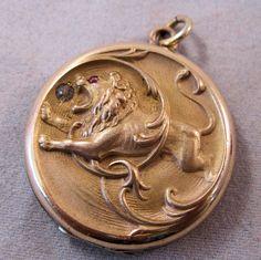 1890s Art Nouveau Lion Locket Gold Filled by BrightEyesTreasures, $225.00