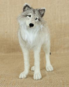 Cleopatra the Gray Wolf: Needle felted animal sculpture by The Woolen Wagon