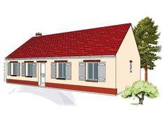 Modèle PC-37  Pavillon plain-pied comprenant cuisine, séjour, hall, salle de bains, WC, 3 chambres.  Surface Habitable : 84,40m²