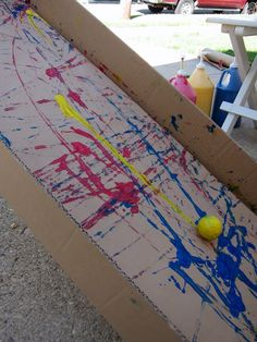 Marble Painting Super-sized. Great for kinesthetic movement and social skills: turn taking and communication.