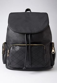 Perforated Faux Leather Backpack | Forever 21 - 1000183848
