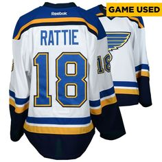 Ty Rattie St. Louis Blues Fanatics Authentic Game-Used 2016-17 50th Anniversary Season Set 1 Road White Jersey - Worn From October 12, 2016 Through November 23, 2016