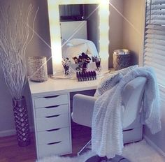 Find the beautiful makeup room ideas, designs & inspiration to match your style. Browse through images of makeup room & vanity mirror to create your perfect home. Rangement Makeup, Vanity Room, Glam Room, Room Planner, Deco Design, Home And Deco, Beauty Room, My New Room, House Rooms