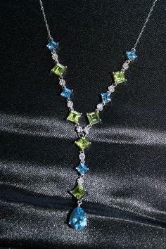 Diamond Peridot & Blue Topaz Drop Necklace 14k Whte Gold