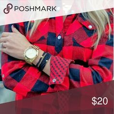 Fun & Flirt Flannel Checkered flannel with button up closure and adjustable sleeve length Tops