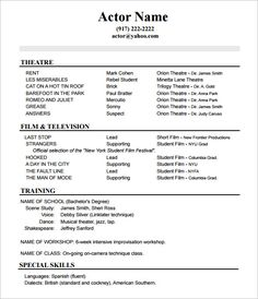 actor resume no experience