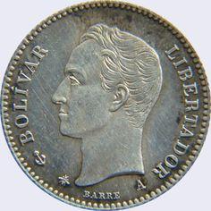 Pieza mv5cv-aa01p (Anverso). Moneda de Venezuela. 5 Centavos. Diseño A, Tipo A. Fecha 1874 (Acabado Proof)