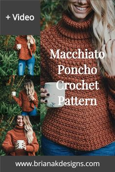 A cozy winter with an easy crochet poncho pattern. The Macchiato Poncho comes in sizes baby to plus size adult and also has a video tutorial. The turtleneck offers extra warmth and style. A popular pattern for the fall and winter seasons. Crochet Pattern Poncho Crochet Mitts, Crochet Gloves, Knit Or Crochet, Crochet Scarves, Easy Crochet, Free Crochet, Crochet Winter, Crochet Summer, Knitting Designs
