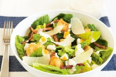 How do you cook caesar salad? get instruction detail. This traditional Caesar salad comes with some healthier alternatives so that everyone can enjoy it Easy Green Salad Recipes, Salad Recipes Video, Salad Recipes For Dinner, Bbc Good Food Recipes, Easy Salads, Healthy Salad Recipes, Summer Salads, Classic Caesar Salad, Mozzarella Salad