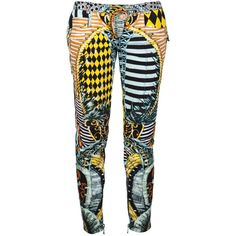 BALMAIN Mixed print moto jeans ($1,440) ❤ liked on Polyvore featuring jeans, pants, colorful jeans, super skinny jeans, print jeans, ankle zipper jeans and cropped jeans
