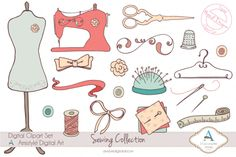 Check out CLIP ART: Hand Drawn Sewing Supplies by Amistyle Digital Art on Creative Market