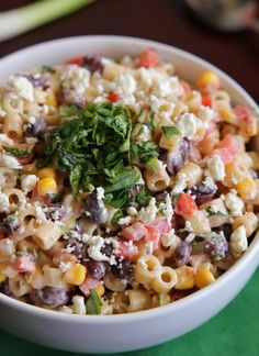 /eatcakefordinn/'s Mexican Pasta Salad caught our eye because of its updated take on the BBQ staple. But this recipe adds beans and feta cheese (plus a bunch of other goodies), making it packed with more protein than usual. Potluck Recipes, Side Dish Recipes, Mexican Food Recipes, Cooking Recipes, Healthy Recipes, Potluck Ideas, Pasta Dishes, Food Dishes, Side Dishes
