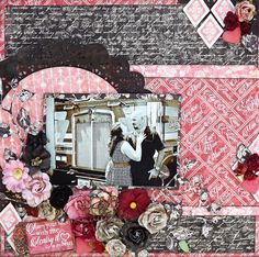 Scraps of Darkness scrapbook kits: Laura Gilhuly created this dramatic red and black Love / Valentine's Day layout using the Graphic 45 Mon Amour Collection from our Jan. 'Beloved' Kit. Subscribe to our kits today and receive a new box of mixed media scrapbooking fun delivered to you each month. www.scrapsofdarkness.com