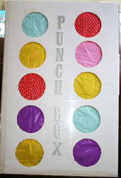 "It's called a ""Punch Box"" and it's a great alternative to a pinata. Instead of beating on a pinata with a stick, each person punches through one of the pretty colored circles in order to grab the prize inside. A great idea for a take home party favor. Birthday Fun, Birthday Parties, Kids Birthday Party Games, Kid Parties, Kid Party Activities, 2 Year Old Birthday Party Girl, 3 Year Old Birthday Party Boy, Karate Birthday, Birthday Morning"