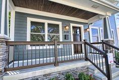Craftsman Front Porches, Craftsman Style Porch, Front Porch Railings, Deck Railings, Exterior Colors, Exterior Design, Porch Railing Designs, Front Steps, Home Renovation