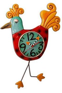 This whimsical Bird a Tude Red Birdie Clock features a dotted red bird with yellow tail and swinging legs pendulum. Guaranteed to give any plain room a colorful and playful detail. Interior Place - Bird a Tude Red Birdie Clock Art by Allen Designs, $52.99 (http://www.interiorplace.com/bird-a-tude-red-birdie-clock-art-by-allen-designs/)