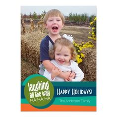Laughing All the Way - Colorful Holiday Photo Announcement #zazzle