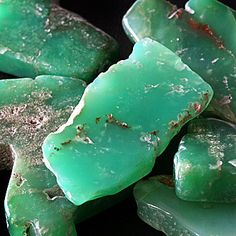 Australian Chrysoprase, variety of chalcedony (a cryptocrystalline form of silica) that contains small quantities of nickel. The word chrysoprase comes from the Greek χρυσός chrysos meaning 'gold' and πράσινον prasinon, meaning 'green.'