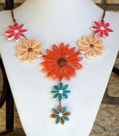 Residual Income / Health with Seaweed: Big Bold Quilling Necklace