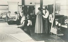 """Sister Emma Jane Neale (1847-1943, Mount Lebanon) [front] revived the Shaker cloak business at Mount Lebanon. The """"Shaker"""" design included a silk lining and ties, a pleated hood, arm slits and inside pockets.  Two years after taking the position she applied for a patent for the """"long cloaks"""" under the name E. J. Neale & Co. Mount Lebanon, NY - her namesake. Read more of Sister Emma at www.shakerml.org/exhibitions  Shaker Museum 