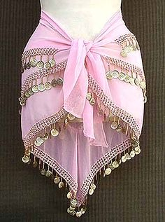 Pink Belly Dance Hip Scarf 3 Rows Beads and GOLD Coins $12.99