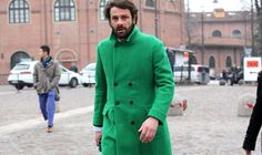 Pitti Uomo A/W 13 Street Style, captured by GQ. WWW.LINEAFASHION.COM #streetstyle #menswear #winterstyle #designerlabels #fashion #gentlemen #moderngentlemen #classic #green #doublebreasted #beard #florencefashion