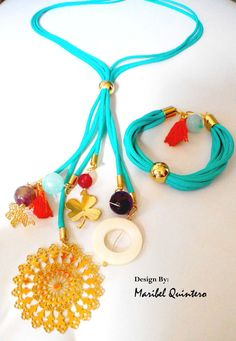 MULTI PENDANTS. Necklace and bracelet Fabric Jewelry, Beaded Jewelry, Jewelry Necklaces, Handmade Jewelry, Beaded Bracelets, Leather Necklace, Diy Necklace, Leather Jewelry, Bracelets Design