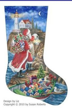 world class needlepoint lighthouse delivery 18 count hand painted needlepoint stocking canvas christmas needlepoint - Needlepoint Christmas Stocking Canvas