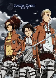 Attack on Titan ~~ Badasses One and All :: Hanji, Levi, and Erwin
