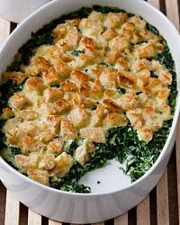 Baby Spinach and Garlic Bread Pudding Recipe on Food & Wine