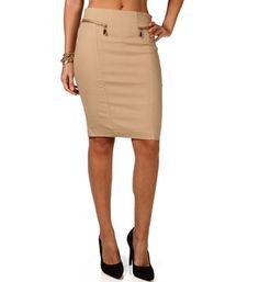 Mocha Front Zip Pencil Skirt