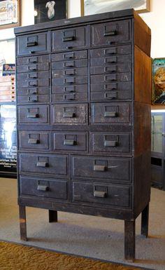 Vintage industrial metal Globe drawer unit