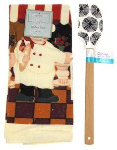 "Kitchen Towel Chef Cafe Scene 15""x25"" Black White Silicone Spatula Gift Set 2 - FUNsational Finds - 1"