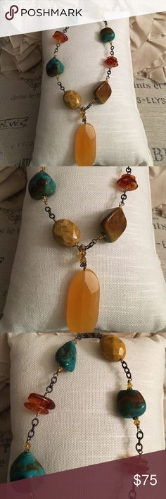 Silpada turquoise, amber & citrine large necklace Gorgeous Silpada piece I never thought I'd sell. It's so fabulous with all of the natural stones and coloring with lots of small pretty details. FIRM on price. Silpada Jewelry Necklaces