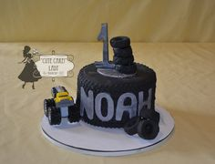Tired of the same old 1st birthday cake? This little fellow is all about the tire.