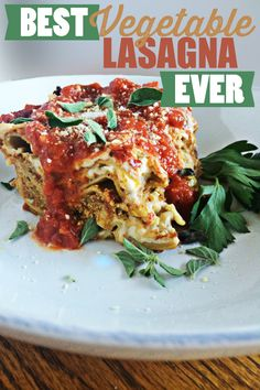 Best Vegetable Lasagna EVER via @BlenderBabes | This is the best vegetable lasagna recipe by far. That may be hard to believe because there are a lot of great lasagna recipes out there. This recipe, however, will surely knock your socks off!