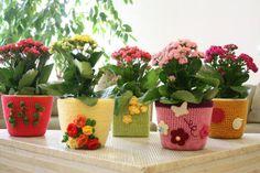 Crochet plant pot covers. Cute! LD