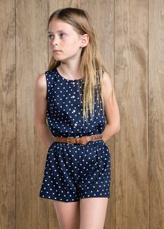 Heart print lightweight short jumpsuit with button fastenings at front. Frocks For Girls, Kids Frocks, Kids Outfits Girls, Little Girl Dresses, Girl Outfits, Kids Mode, Tween Mode, Little Girl Models, Little Girl Fashion