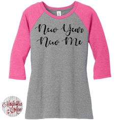 Glitter New Year New Me, Happy New Year, New Years Eve, Womens Baseball Raglan 3/4 Sleeve Top in 5 colors, Sizes Small-4X, Plus Size by MagnoliaAnn on Etsy