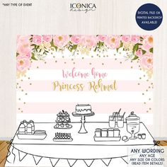 The Backdrop is an important element of any dessert table, because it really sets the tone for your theme. This listing is for a Floral Gold and Pink Backdrop Any Color / Any Wording. If you are looking for any particular theme, convo us! We will gladly design it for you :) Select
