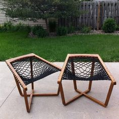 Pair of Sling Chairs, Rope Chairs Mid Century Mod