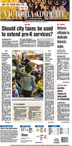 Here is the front page of the Victoria Advocate for Monday, March 3, 2014. To subscribe to the award-winning Victoria Advocate, please call 361-574-1200 locally or toll-free at 1-800-365-5779. Or you can pick up a copy at one of the numerous locations around the Crossroads region.