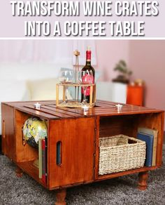 DIY Coffee Table from Crates Here's How To Create The Perfect Table For Any Wineaholic Furniture Projects, Home Projects, Home Crafts, Diy Furniture, Diy Home Decor, Diy Crafts, Painted Furniture, Wine Crate Coffee Table, Crate Table