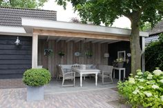 Landscaping Software - Offering Early View of Completed Project Buitenkamer Met Plat Dak Outdoor Rooms, Outdoor Gardens, Outdoor Living, Outdoor Decor, Pergola, Gazebo, Garden Deco, Outside Living, Landscaping Software