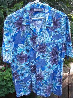 23f140d7 HAWAIIAN Aloha SHIRT large pit to pit 24 David Taylor Cotton Tropical  Flowers$16.99