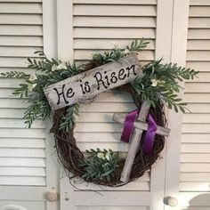 """Excited to share this item from my shop: Easter """"He is risen"""" Wreath Wooden Window Frames, Wooden Windows, He Is Risen, Country Farmhouse, Grapevine Wreath, Grape Vines, House Warming, Easter, Wreaths"""