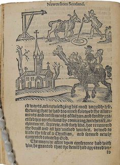 Witchcraft and Demonology in Scotland. Woodcut illustration and text from Newes from Scotland by University of Glasgow Library.